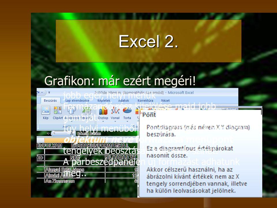 Excel 2. Grafikon: már ezért megéri! jobb egér, helyi menük Formázandó rész kijelölése majd jobb gombját. Így helyi menüből is elvégezhető a formázás.