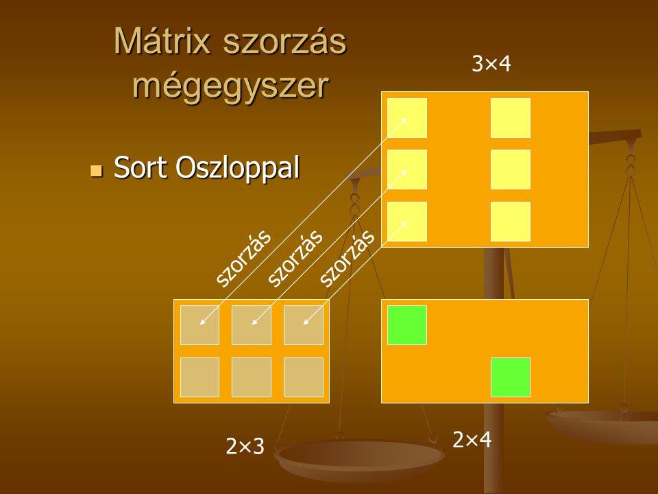Mátrix szorzás mégegyszer  Sort Oszloppal 2×32×3 3×43×4 2×42×4 szorzás