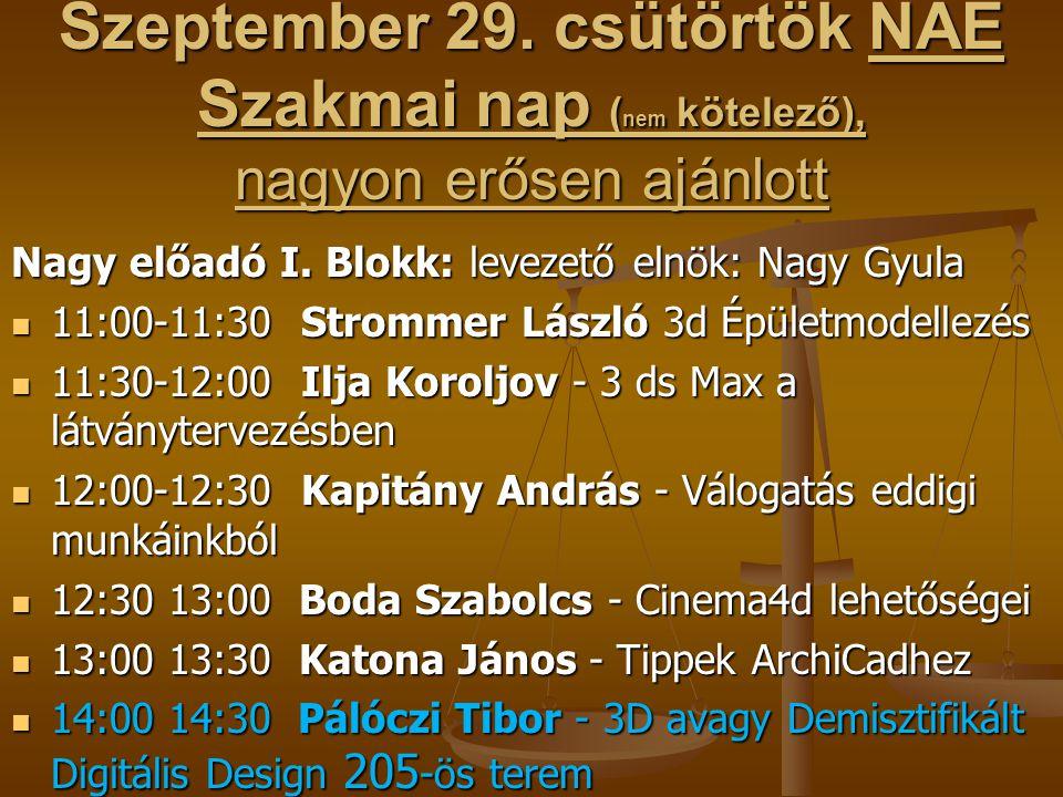 Szeptember 29. csütörtök NAE Szakmai nap ( nem kötelező), nagyon erősen ajánlott Nagy előadó I. Blokk: levezető elnök: Nagy Gyula  11:00-11:30 Stromm