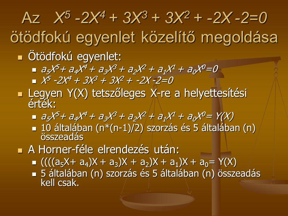 Az X 5 -2X 4 + 3X 3 + 3X 2 + -2X -2=0 ötödfokú egyenlet közelítő megoldása  Ötödfokú egyenlet:  a 5 X 5 + a 4 X 4 + a 3 X 3 + a 2 X 2 + a 1 X 1 + a