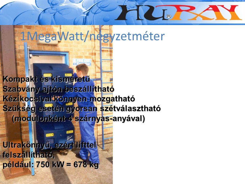 1MegaWatt/négyzetméter Kompakt és kisméretű Szabvány ajtón beszállítható Kézikocsival könnyen mozgatható Szükség esetén gyorsan szétválasztható (modul