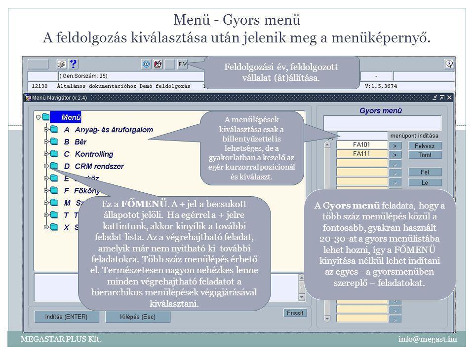 Menü - Gyors menü A feldolgozás kiválasztása után jelenik meg a menüképernyő. MEGASTAR PLUS Kft. info@megast.hu Feldolgozási év, feldolgozott vállalat