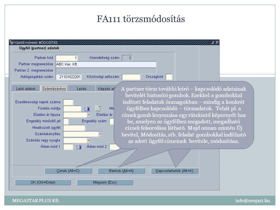 FA111 törzsmódosítás MEGASTAR PLUS Kft. info@megast.hu A partner törzs további leíró – kapcsolódó adatainak bevitelét biztosító gombok. Ezekkel a gomb