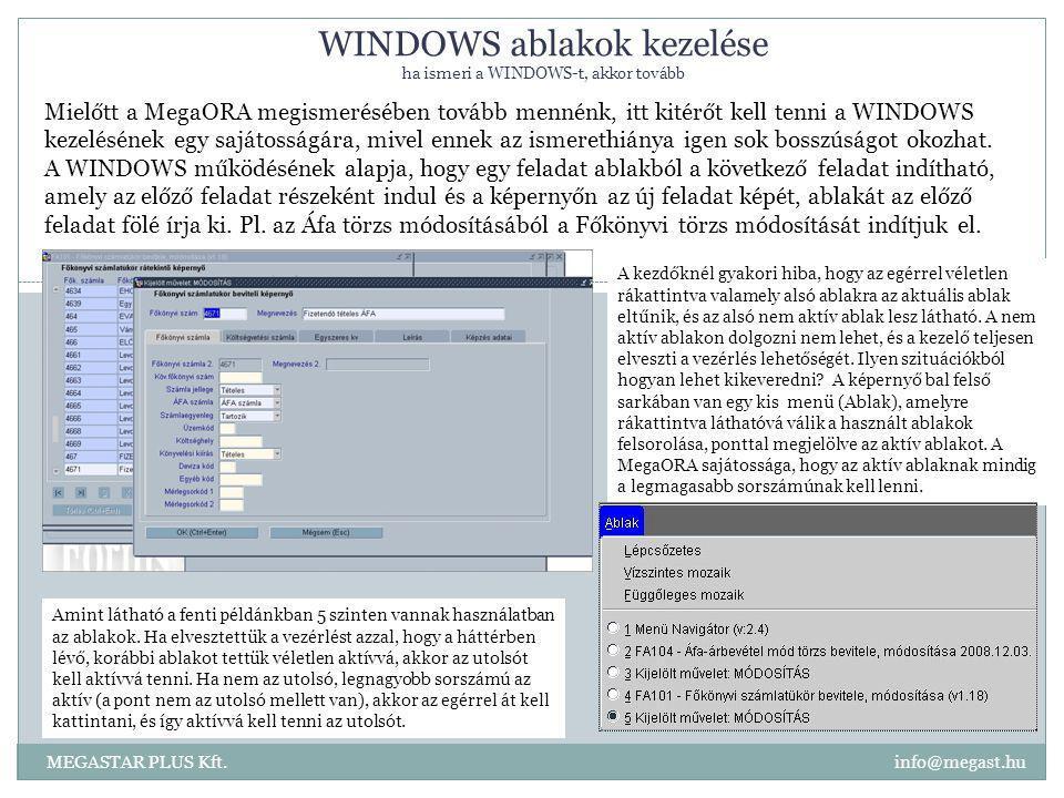 WINDOWS ablakok kezelése ha ismeri a WINDOWS-t, akkor tovább MEGASTAR PLUS Kft. info@megast.hu Mielőtt a MegaORA megismerésében tovább mennénk, itt ki