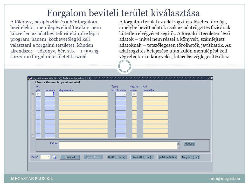 Forgalom beviteli terület kiválasztása MEGASTAR PLUS Kft. info@megast.hu A forgalmi terület az adatrögzítés előzetes tárolója, amelybe bevitt adatok c