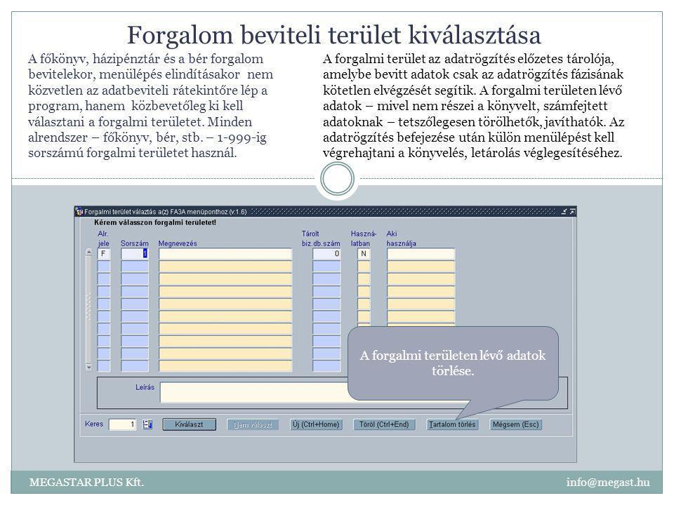Forgalom beviteli terület kiválasztása MEGASTAR PLUS Kft. info@megast.hu A forgalmi területen lévő adatok törlése. A forgalmi terület az adatrögzítés