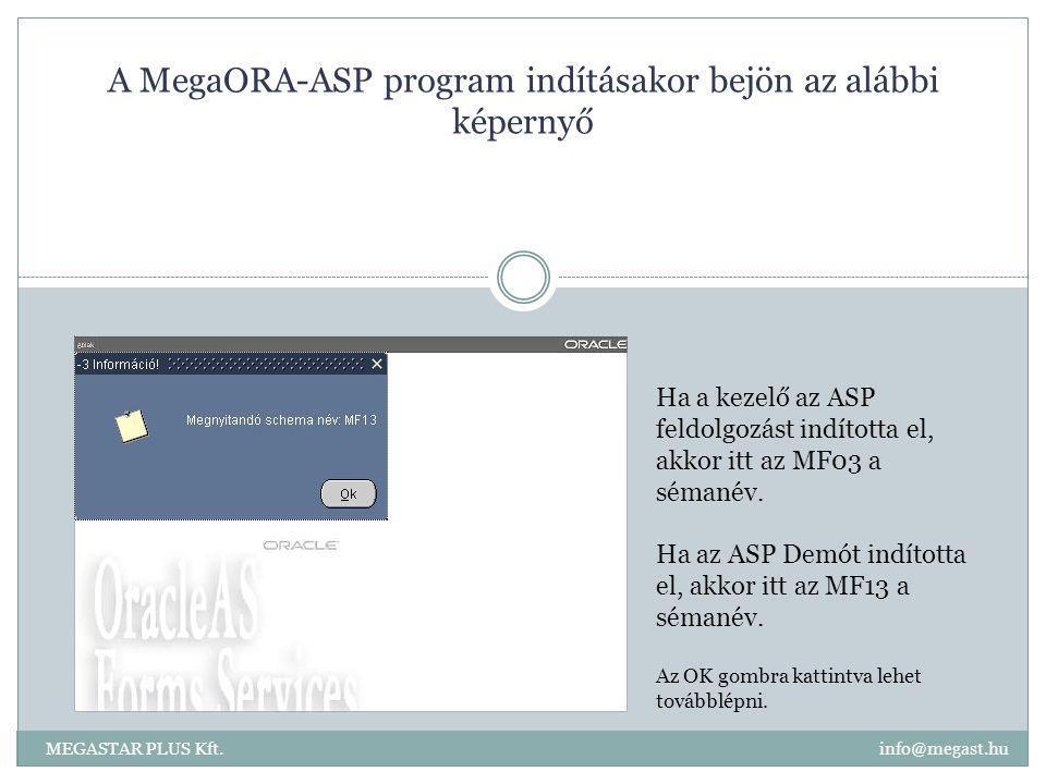 A MegaORA-ASP program indításakor bejön az alábbi képernyő Ha a kezelő az ASP feldolgozást indította el, akkor itt az MF03 a sémanév. Ha az ASP Demót