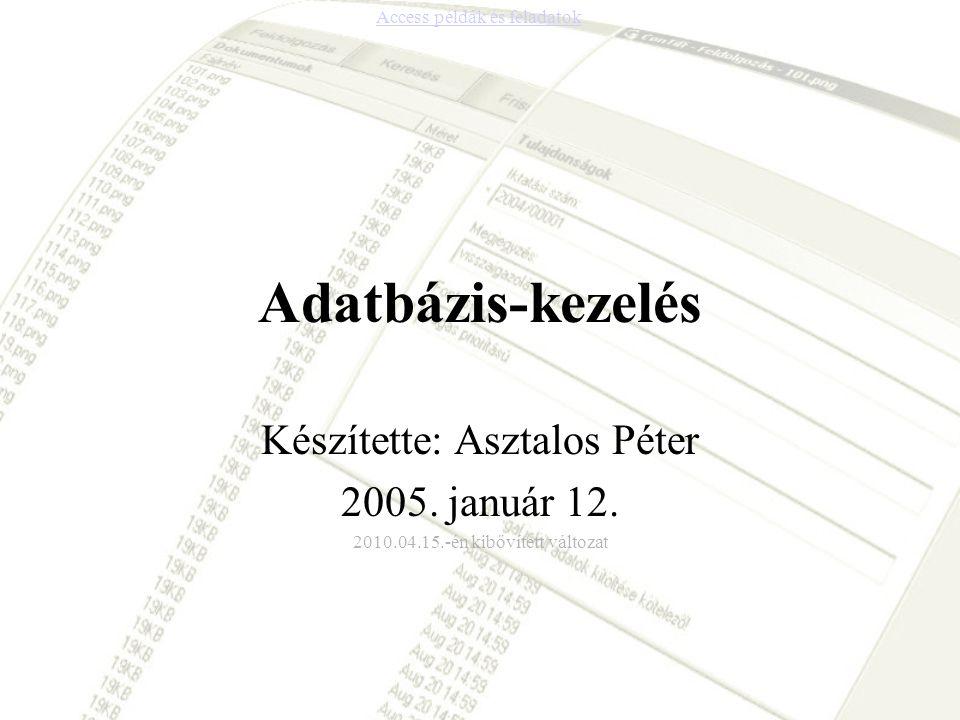 Adatbázis-kezelés Készítette: Asztalos Péter 2005. január 12. 2010.04.15.-én kibővített változat Access példák és feladatok