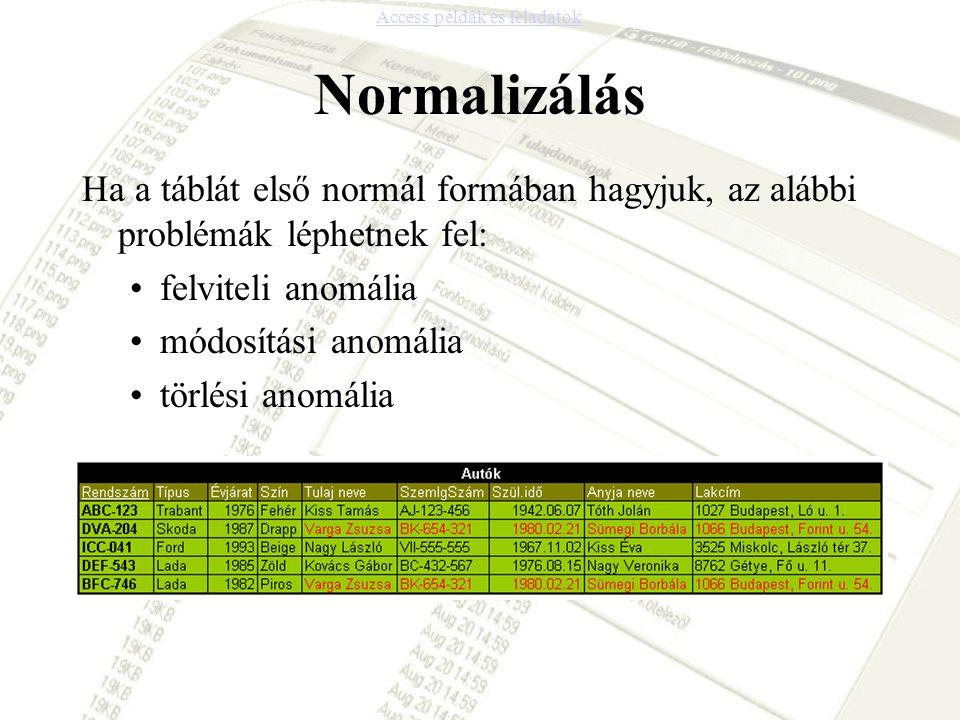 Normalizálás Ha a táblát első normál formában hagyjuk, az alábbi problémák léphetnek fel: •felviteli anomália •módosítási anomália •törlési anomália A