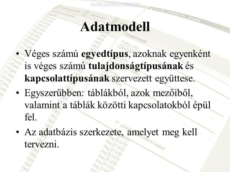 Adatmodell •Véges számú egyedtípus, azoknak egyenként is véges számú tulajdonságtípusának és kapcsolattípusának szervezett együttese. •Egyszerűbben: t