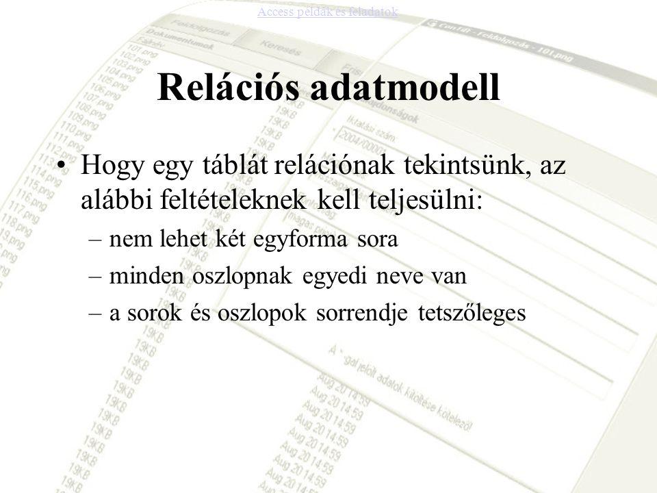 Relációs adatmodell •Hogy egy táblát relációnak tekintsünk, az alábbi feltételeknek kell teljesülni: –nem lehet két egyforma sora –minden oszlopnak eg