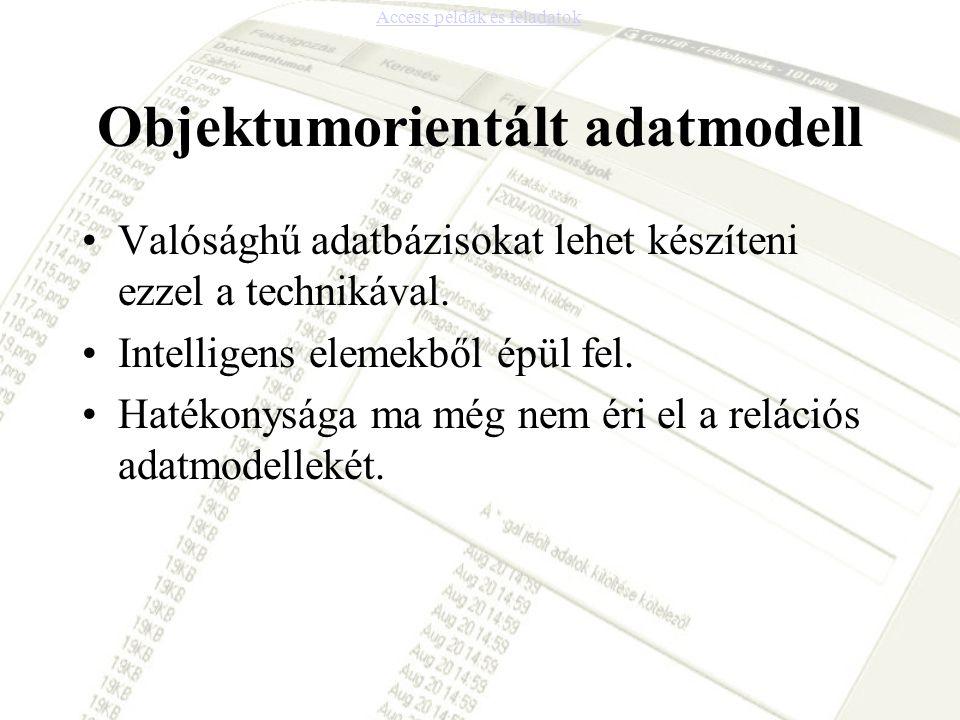 Objektumorientált adatmodell •Valósághű adatbázisokat lehet készíteni ezzel a technikával. •Intelligens elemekből épül fel. •Hatékonysága ma még nem é