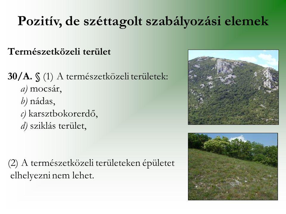 Természetközeli terület 30/A. § (1) A természetközeli területek: a) mocsár, b) nádas, c) karsztbokorerdő, d) sziklás terület, (2) A természetközeli te