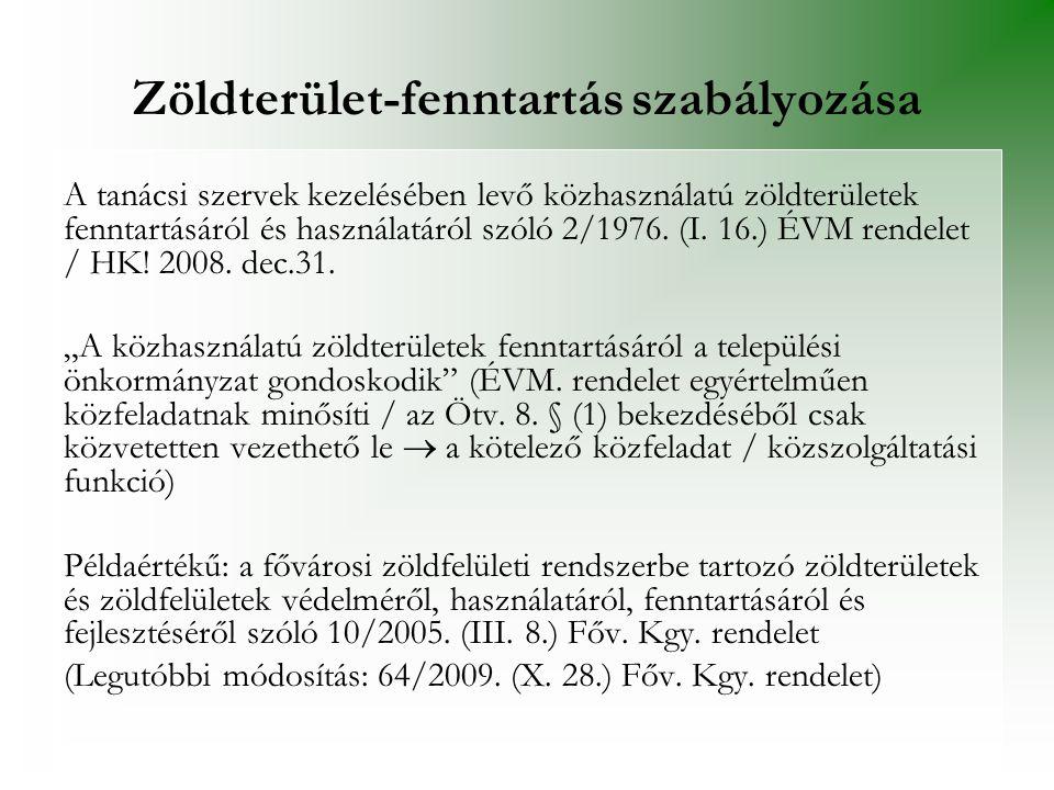 Zöldterület-fenntartás szabályozása A tanácsi szervek kezelésében levő közhasználatú zöldterületek fenntartásáról és használatáról szóló 2/1976. (I. 1