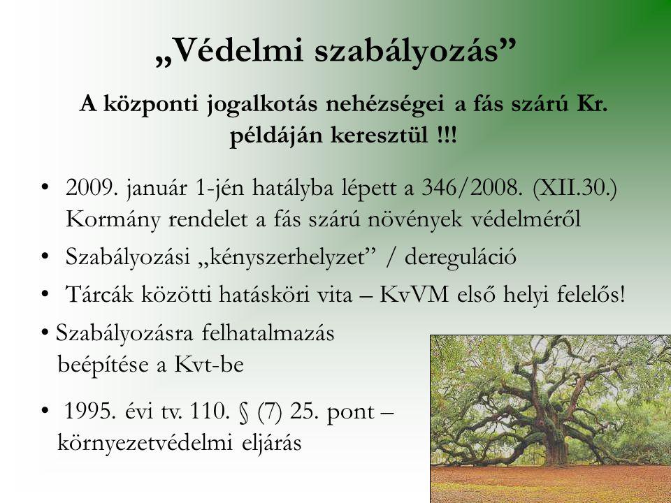 """•2009. január 1-jén hatályba lépett a 346/2008. (XII.30.) Kormány rendelet a fás szárú növények védelméről •Szabályozási """"kényszerhelyzet"""" / deregulác"""