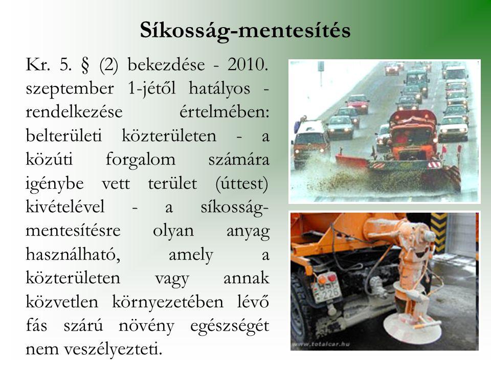 Kr. 5. § (2) bekezdése - 2010. szeptember 1-jétől hatályos - rendelkezése értelmében: belterületi közterületen - a közúti forgalom számára igénybe vet