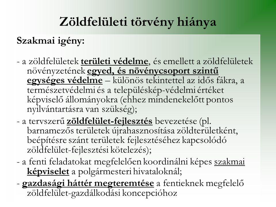 Zöldfelületi törvény hiánya Szakmai igény: - a zöldfelületek területi védelme, és emellett a zöldfelületek növényzetének egyed, és növénycsoport szint