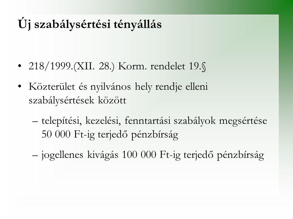 Új szabálysértési tényállás •218/1999.(XII. 28.) Korm. rendelet 19.§ •Közterület és nyilvános hely rendje elleni szabálysértések között –telepítési, k