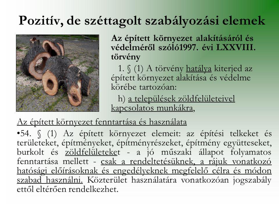 Zöldterület-fenntartás szabályozása A tanácsi szervek kezelésében levő közhasználatú zöldterületek fenntartásáról és használatáról szóló 2/1976.