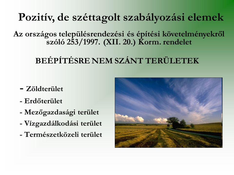 BEÉPÍTÉSRE NEM SZÁNT TERÜLETEK - Zöldterület - Erdőterület - Mezőgazdasági terület - Vízgazdálkodási terület - Természetközeli terület Pozitív, de szé