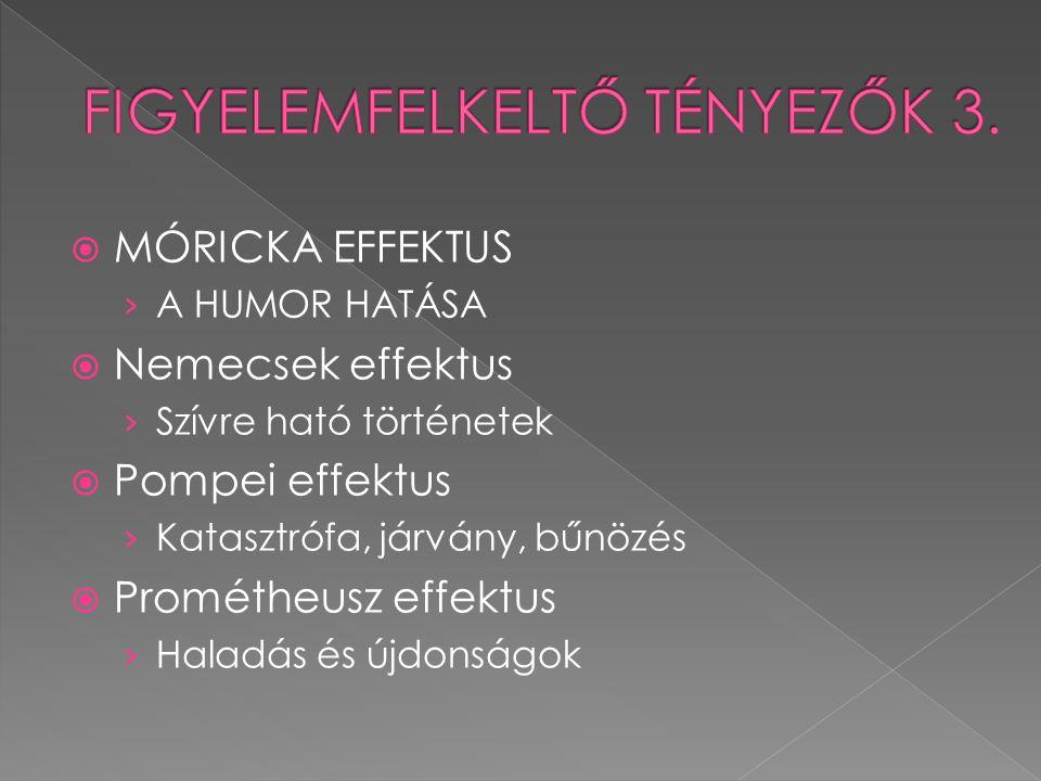  MÓRICKA EFFEKTUS › A HUMOR HATÁSA  Nemecsek effektus › Szívre ható történetek  Pompei effektus › Katasztrófa, járvány, bűnözés  Prométheusz effek