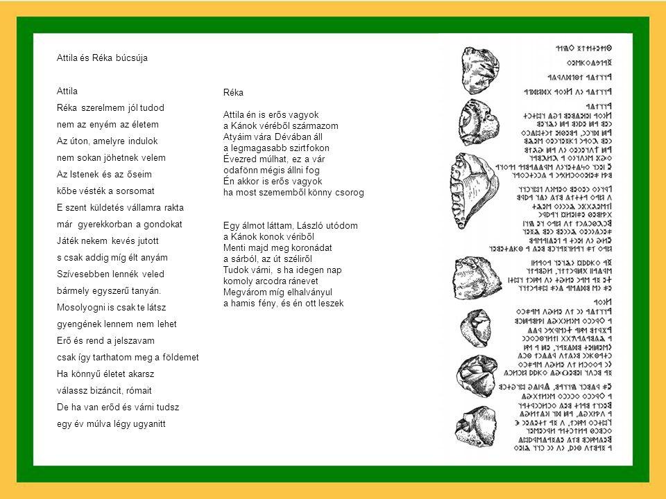 Friedrich Klára Hajnalkövek Versek Szakács Gábor 2002-ben megjelent lemezéhez ATTILA IFJÚSÁGA Előhang Ahogy ezer gyertyája világít az égnek S közöttük ott ragyog királyuk a Hold Úgy ülnek Uldin körül az ifjak és a vének Hallgatják bölcs beszédét arról, hogy ki volt Ősapjuk, ki e földön Tündérkertet teremtett Melyben Tudás, Rend, Szépség uralkodott