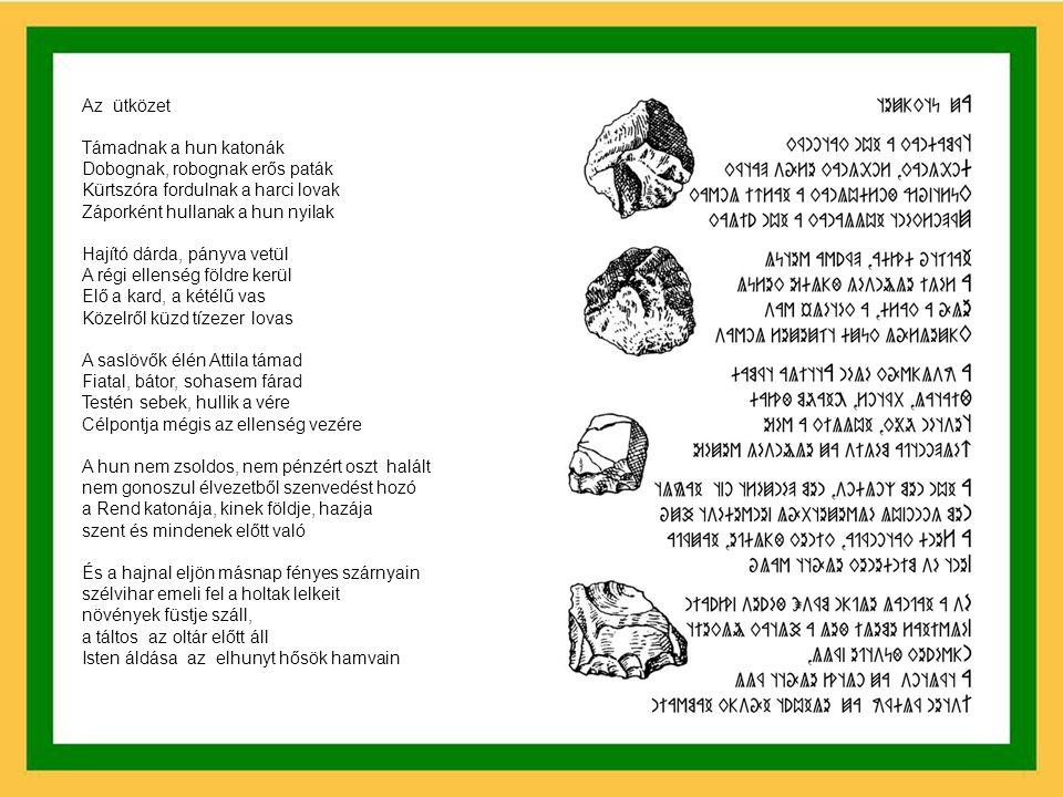 Gyülekeznek a kobzosok Gyülekeznek a táltosok Gyülekeznek a pénzváltók is Gyülekeznek a lovasok Gyülekeznek a harcosok Gyülekeznek az árulók is Gyülekeznek a szarvasok Gyülekeznek a farkasok Gyülekeznek a dögevők is (Megjelent 1999-ben az Ezredvég című rovásírásos versfüzetben és Szakács Gábor Esküszünk című lemezén, 2001-ben)
