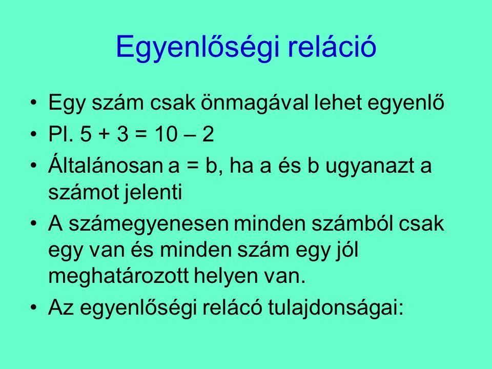 Tulajdonságok •Bármely természetes szám egyenlő önmagával: a = a – reflexív tulajdonság •Ha a = b, akkor b = a – szimmetrikus tulajdonság •Ha a = b és b = c, akkor a = c – ez a tranzitív tulajdonság •Az egyenlőségi reláció egy ekvivalencia reláció