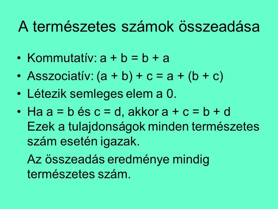 A természetes számok szorzása •Kommutatív: a · b = b · a •Asszociatív: a(b ·c) =(a ·b)c •Létezik egségelem, az 1.