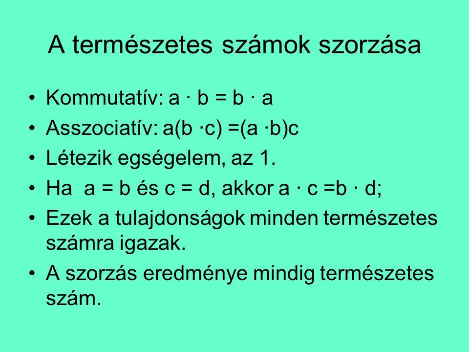 •A szorzás disztributív az összeadásra és a kivonásra nézve: a(b + c) = ab + ac; •A kivonás és osztás nem rendelkezik a fenti tulajdonságokkal; •A kivonás és osztás eredménye nem mindig természetes szám; •A kivonás elvégezhető, ha a kisebbítendő nagyobb mint a kivonandó; •Az osztás csak akkor elvégezhető, ha az osztandó többszöröse az osztónak.