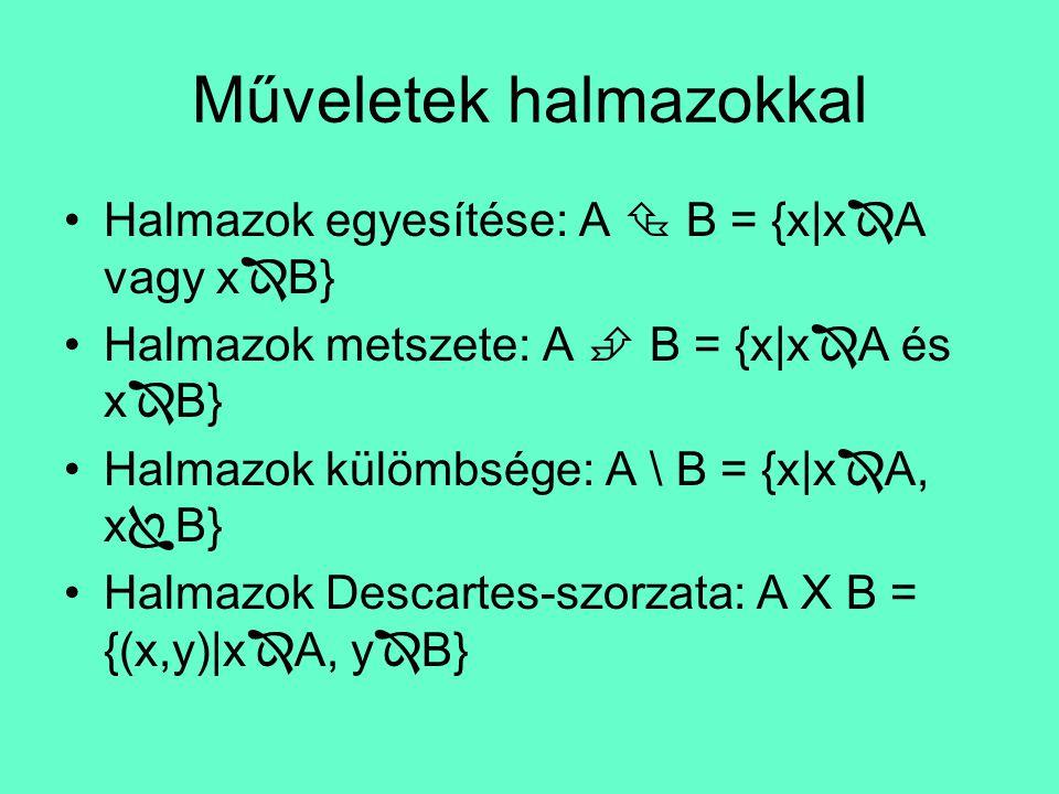 Halmazok megadása •Az elemek felsorolásával: A = {2, 3, 4, 5} •Az elemek közös tulajdonságának megadásával: B = {x|x a 12 osztója} •Venn-Euler féle diagramm segítségével: A B 1 2 3 5 6 7 8