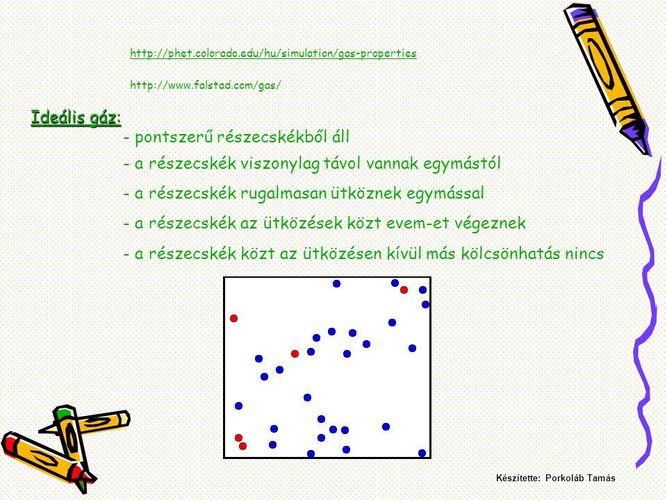 Az ideális gázok tulajdonságai: - nincs önálló alakjuk - nincs állandó térfogatuk - a súlytalan gáz nyomása minden pontjában egyenlő (Pascal törvénye) Készítette: Porkoláb Tamás