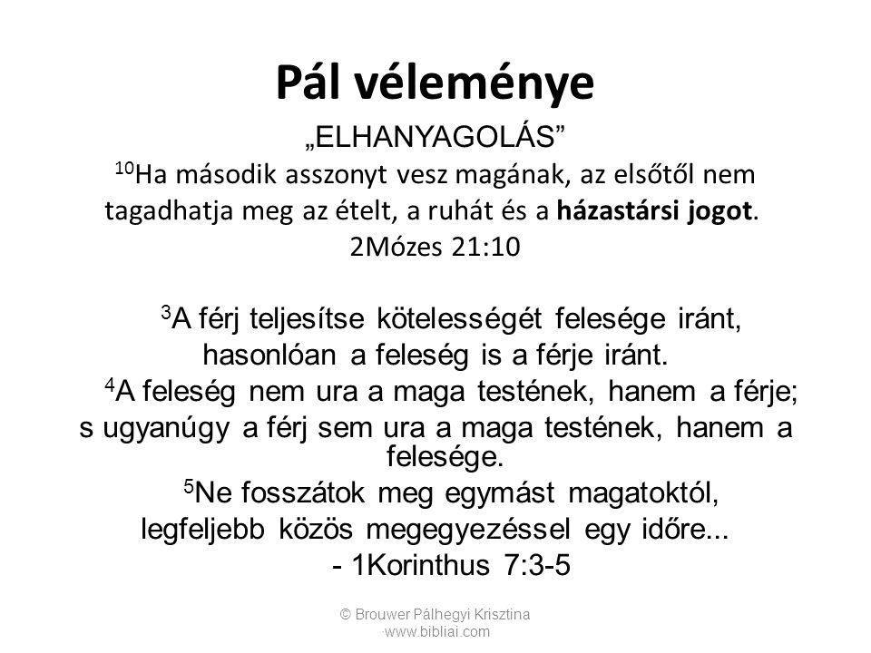 """Pál véleménye """"ELHANYAGOLÁS"""" 10 Ha második asszonyt vesz magának, az elsőtől nem tagadhatja meg az ételt, a ruhát és a házastársi jogot. 2Mózes 21:10"""