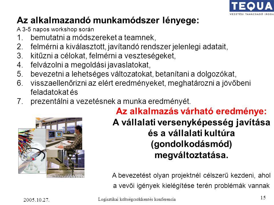 2005.10.27. Logisztikai költségcsökkentés konferencia 15 Az alkalmazás várható eredménye: A vállalati versenyképesség javítása és a vállalati kultúra