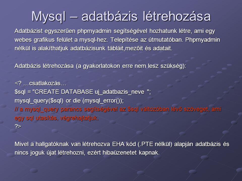 Mysql – adatbázis létrehozása Adatbázist egyszerűen phpmyadmin segítségével hozhatunk létre, ami egy webes grafikus felület a mysql-hez. Telepítése az
