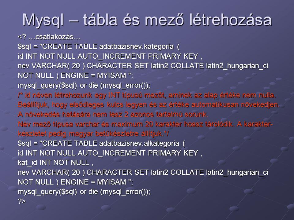 Mysql – tábla és mező létrehozása <? …csatlakozás… $sql =