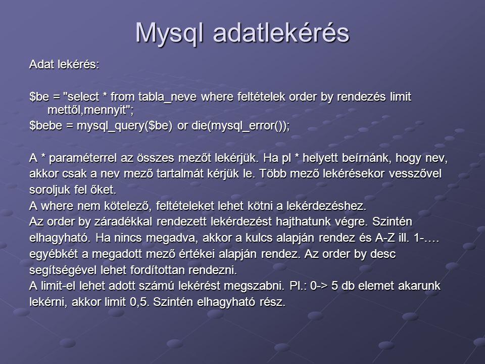 Mysql adatlekérés Adat lekérés: $be =