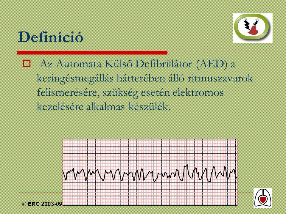 © ERC 2003-09 Definíció  Az Automata Külső Defibrillátor (AED) a keringésmegállás hátterében álló ritmuszavarok felismerésére, szükség esetén elektromos kezelésére alkalmas készülék.