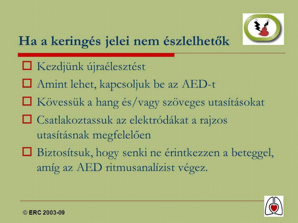 © ERC 2003-09 Ha a keringés jelei nem észlelhetők  Kezdjünk újraélesztést  Amint lehet, kapcsoljuk be az AED-t  Kövessük a hang és/vagy szöveges utasításokat  Csatlakoztassuk az elektródákat a rajzos utasításnak megfelelően  Biztosítsuk, hogy senki ne érintkezzen a beteggel, amíg az AED ritmusanalízist végez.