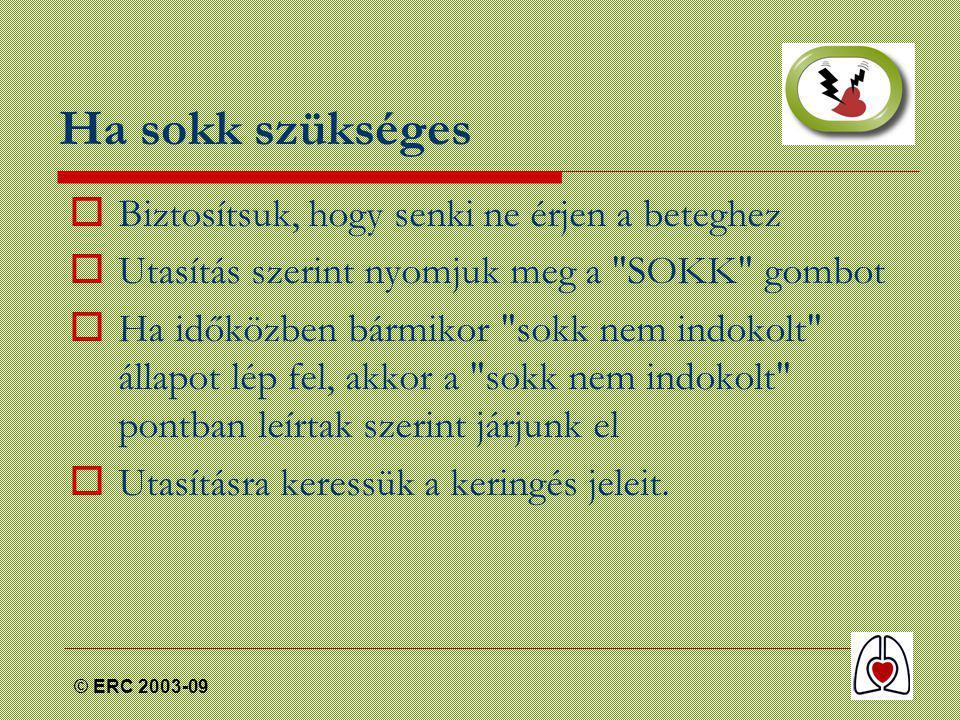 © ERC 2003-09 Ha sokk szükséges  Biztosítsuk, hogy senki ne érjen a beteghez  Utasítás szerint nyomjuk meg a SOKK gombot  Ha időközben bármikor sokk nem indokolt állapot lép fel, akkor a sokk nem indokolt pontban leírtak szerint járjunk el  Utasításra keressük a keringés jeleit.