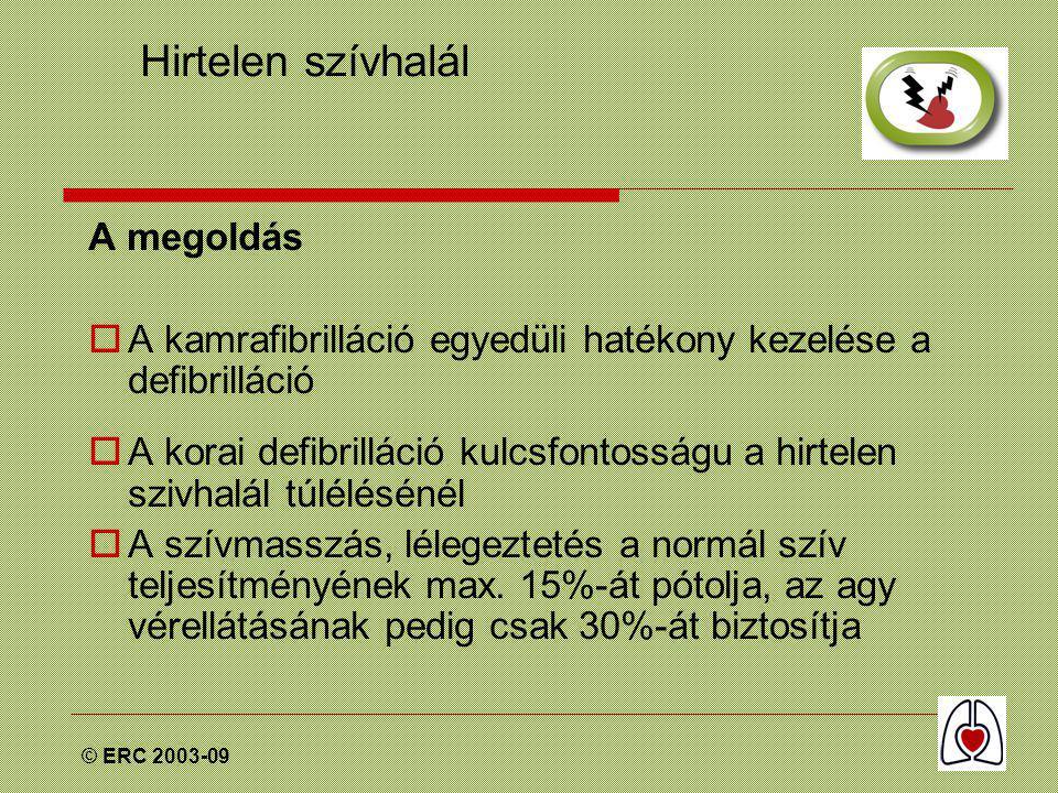 © ERC 2003-09 Keringés vizsgálata  Laikus segélynyújtó esetében a vizsgálat a meglévő keringés közvetett (indirekt) jeleinek keresését jelenti.