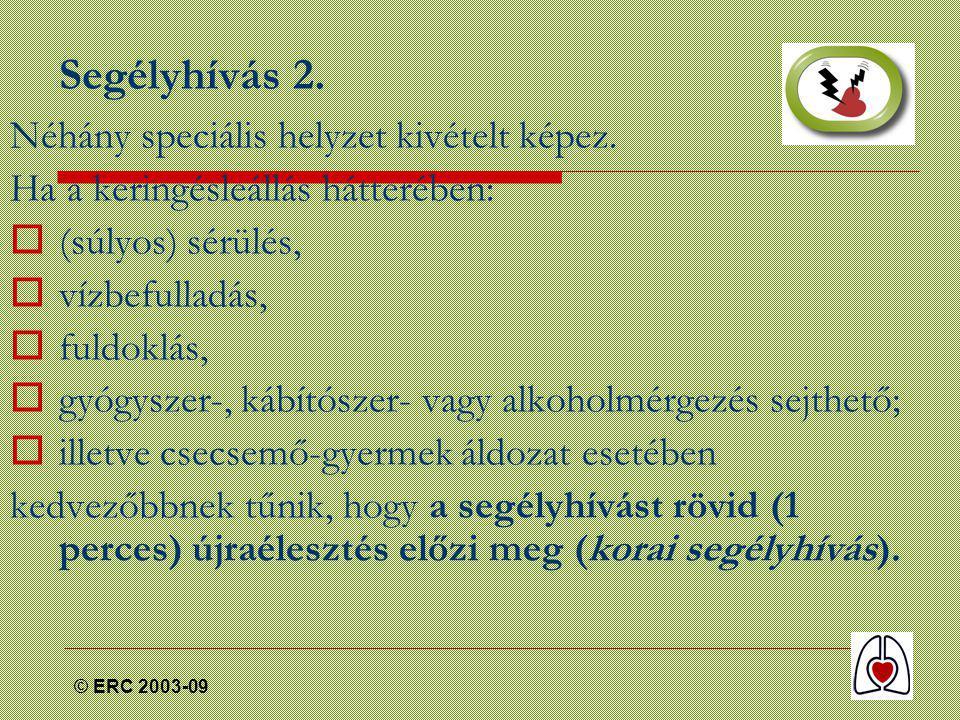 © ERC 2003-09 Segélyhívás 2. Néhány speciális helyzet kivételt képez.