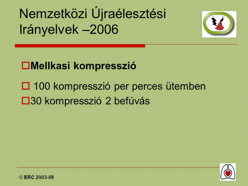© ERC 2003-09 Nemzetközi Újraélesztési Irányelvek –2006  Mellkasi kompresszió  100 kompresszió per perces ütemben  30 kompresszió 2 befúvás