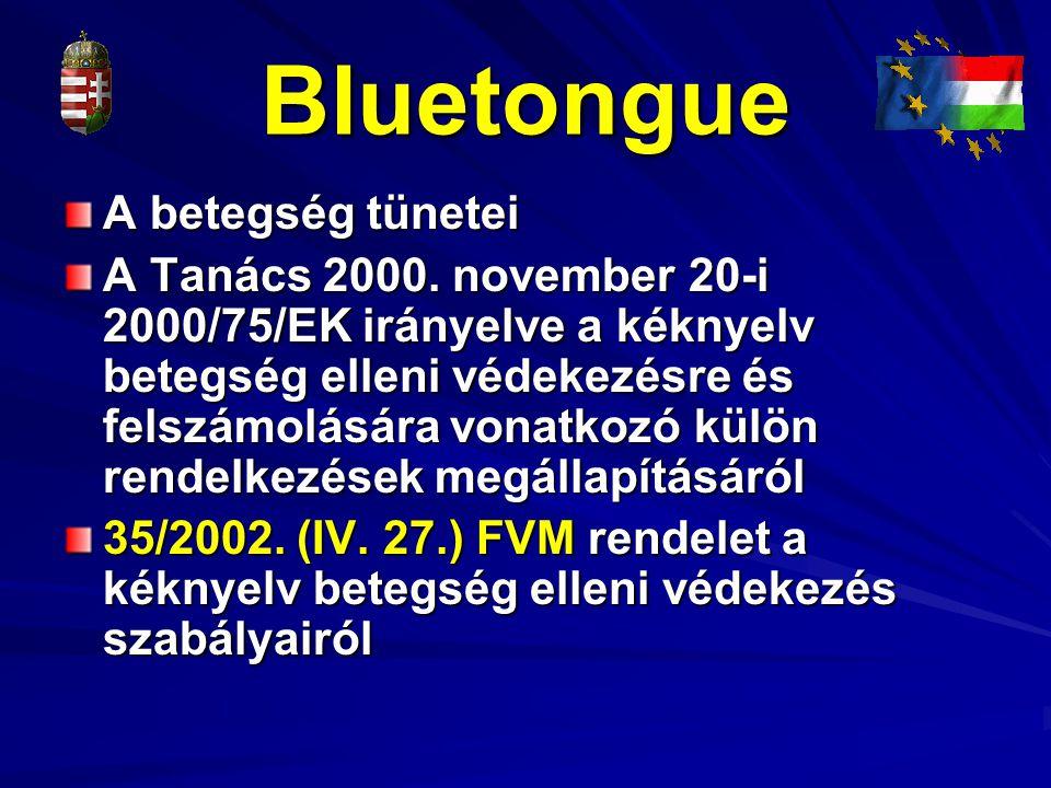 Bluetongue A betegség tünetei A Tanács 2000. november 20-i 2000/75/EK irányelve a kéknyelv betegség elleni védekezésre és felszámolására vonatkozó kül