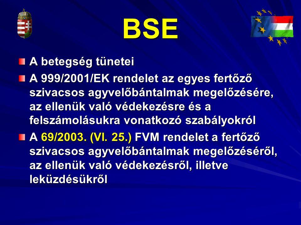 BSE A betegség tünetei A 999/2001/EK rendelet az egyes fertőző szivacsos agyvelőbántalmak megelőzésére, az ellenük való védekezésre és a felszámolásuk