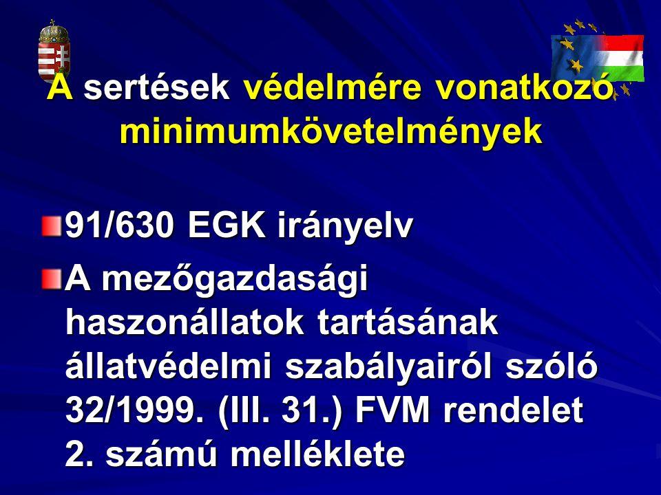 A sertések védelmére vonatkozó minimumkövetelmények 91/630 EGK irányelv A mezőgazdasági haszonállatok tartásának állatvédelmi szabályairól szóló 32/19