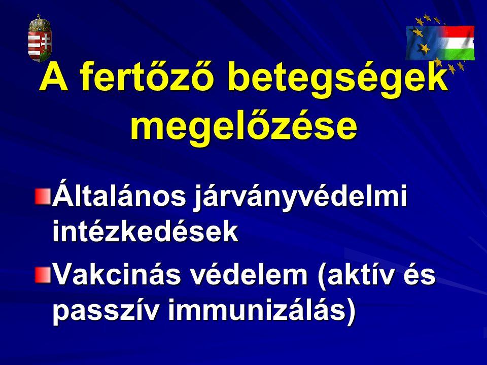 A fertőző betegségek megelőzése Általános járványvédelmi intézkedések Vakcinás védelem (aktív és passzív immunizálás)