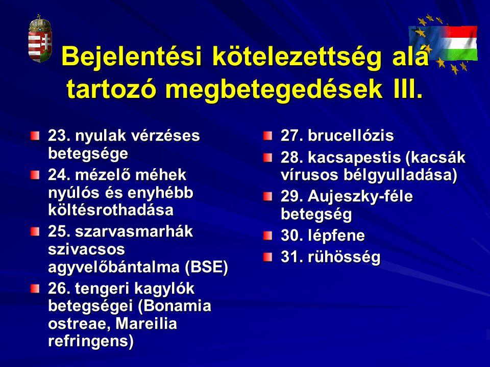 Bejelentési kötelezettség alá tartozó megbetegedések III. 23. nyulak vérzéses betegsége 24. mézelő méhek nyúlós és enyhébb költésrothadása 25. szarvas