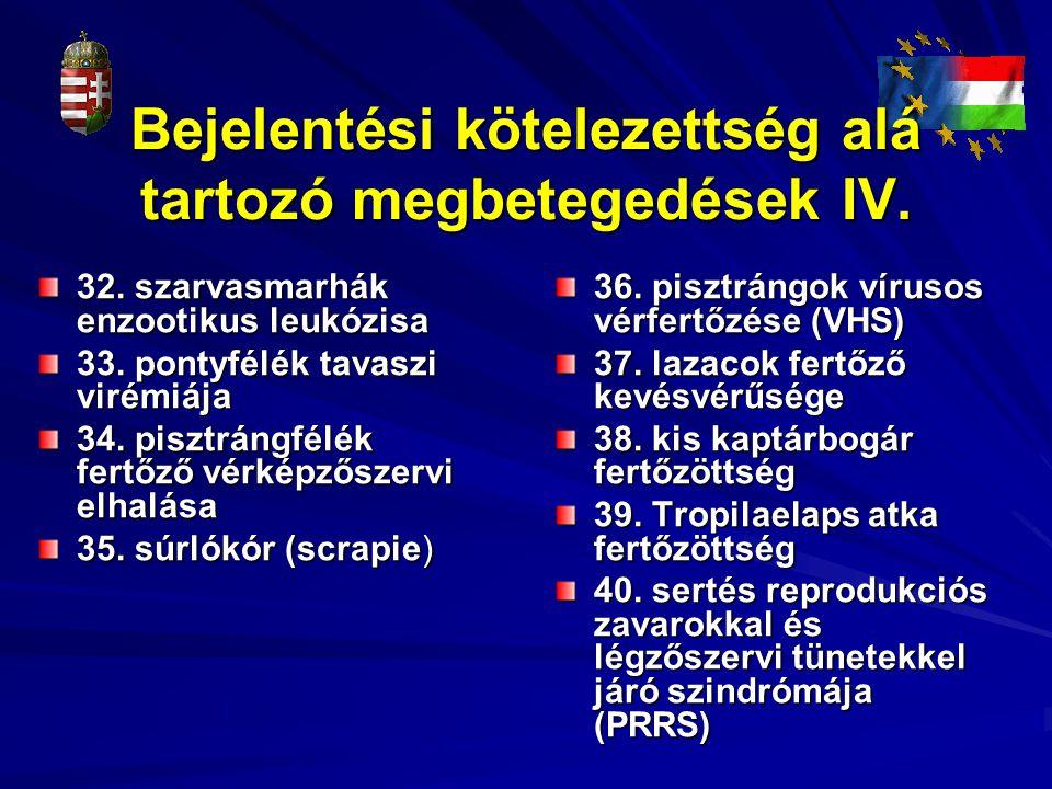 Bejelentési kötelezettség alá tartozó megbetegedések IV. 32. szarvasmarhák enzootikus leukózisa 33. pontyfélék tavaszi virémiája 34. pisztrángfélék fe