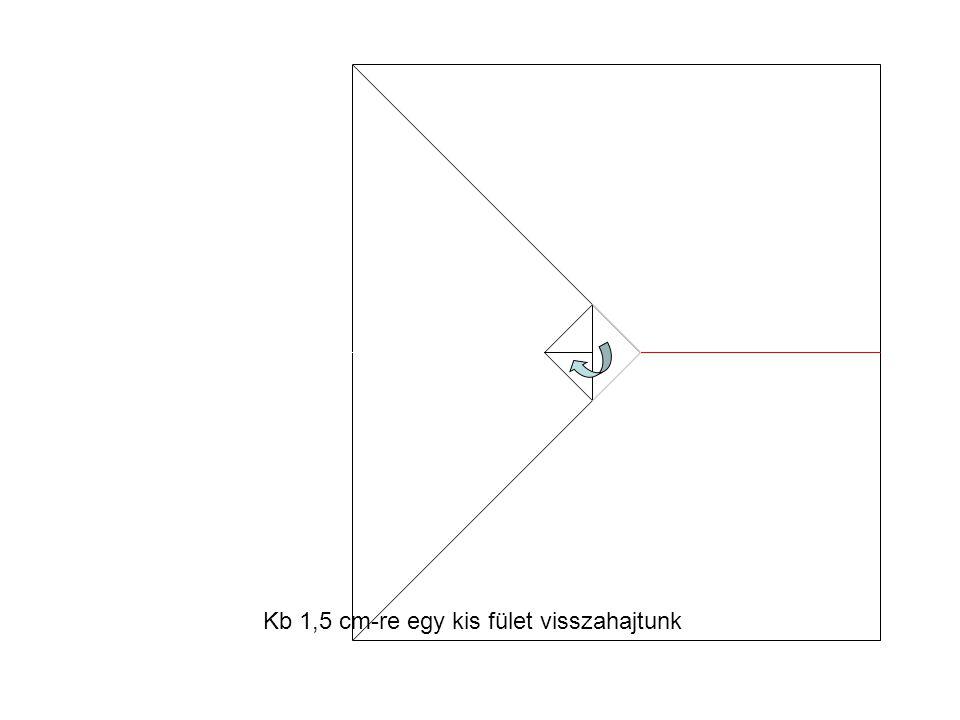 Kb 1,5 cm-re egy kis fület visszahajtunk